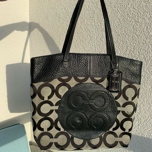 Coach Leather and Fabric Tote Bag